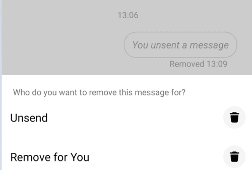 You select option, You unsent a message.